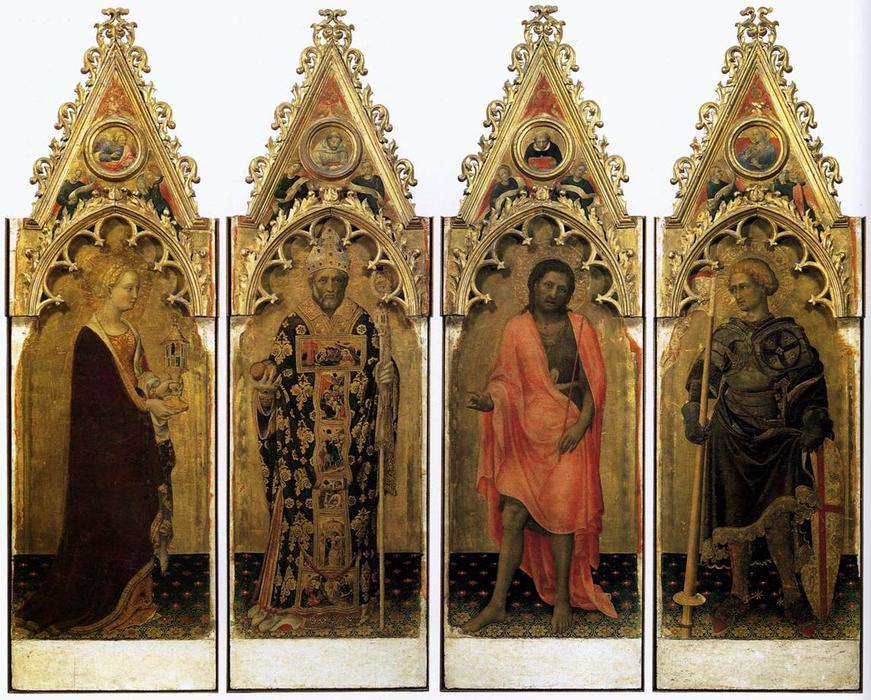 Quaratesi Polyptych: Four Saints, 1425 by Gentile Da Fabriano (1370-1427, Italy) | Oil Painting | WahooArt.com