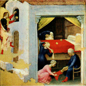 Gentile Da Fabriano - Quaratesi Polyptych: St Nicholas and Three Poor Maidens