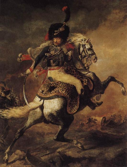 An Officer of the Chasseurs Commanding a Charge, Oil On Canvas by Jean-Louis André Théodore Géricault (1791-1824, France)