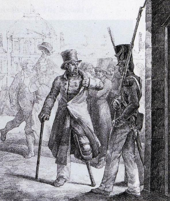 Swiss Guard and Wounded Veteran, Lithography by Jean-Louis André Théodore Géricault (1791-1824, France)