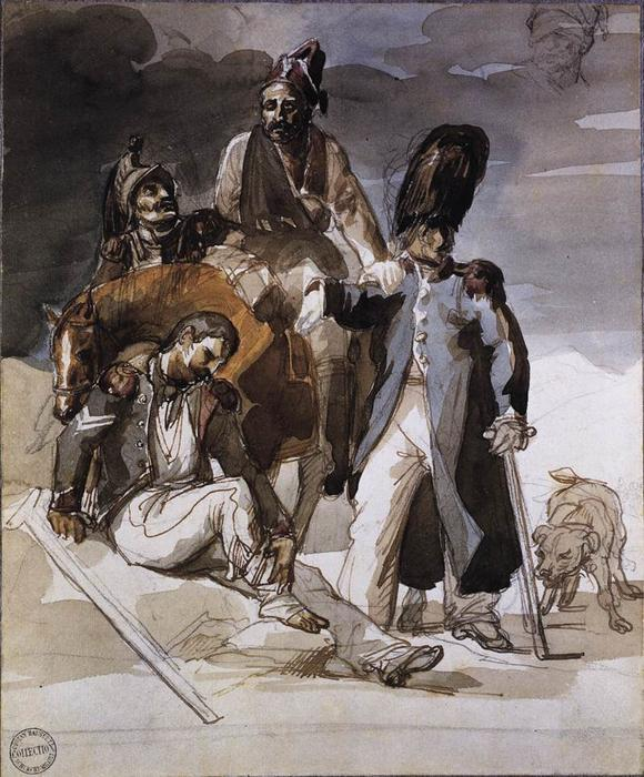 Wounded Soldiers Retrating from Russia, Pencil by Jean-Louis André Théodore Géricault (1791-1824, France)