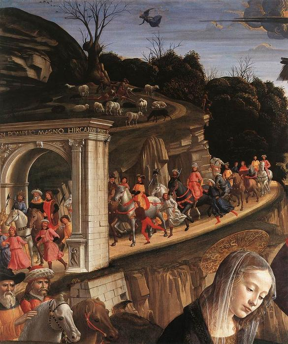 Adoration of the Shepherds (detail), Panel by Domenico Ghirlandaio (1449-1494, Italy)
