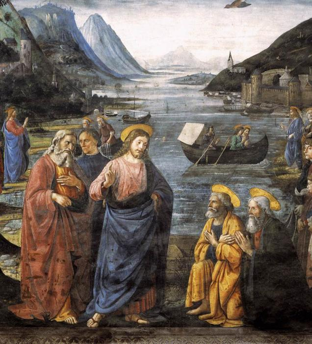 Calling of the Apostles (detail), Frescoes by Domenico Ghirlandaio (1449-1494, Italy)