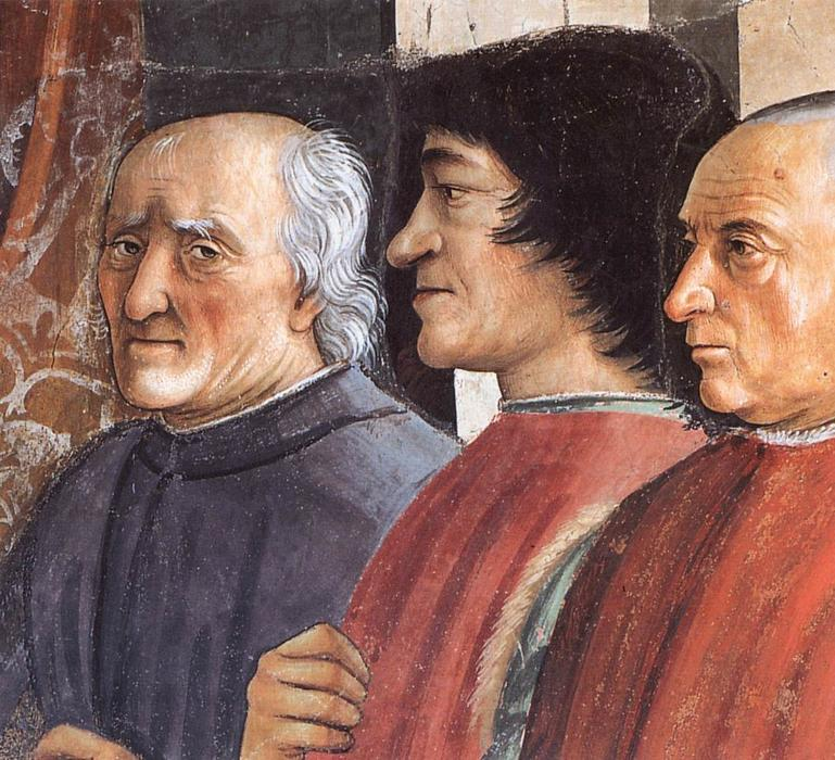 Confirmation of the Rule (detail), Frescoes by Domenico Ghirlandaio (1449-1494, Italy)