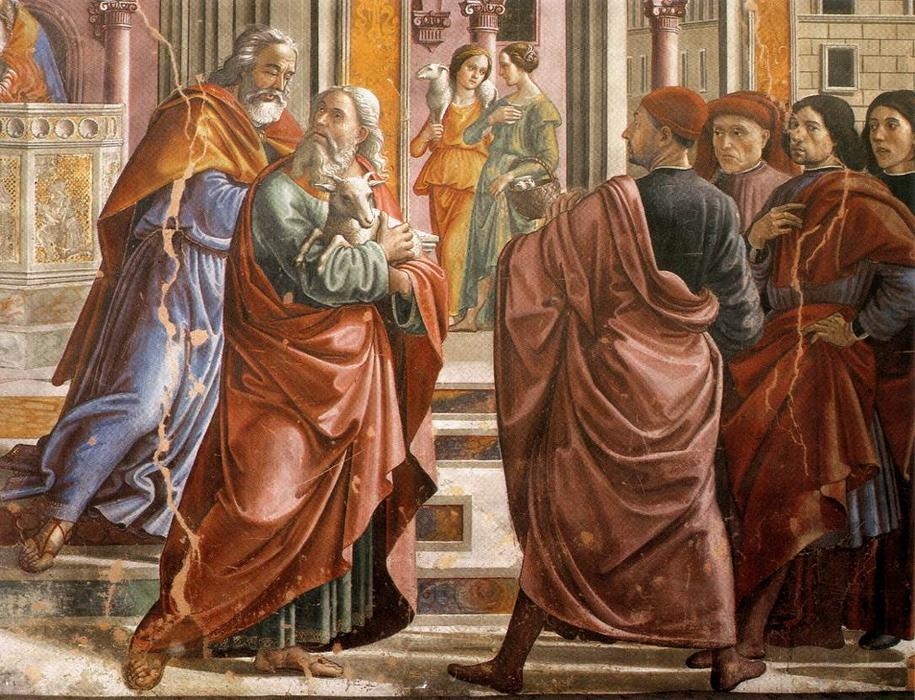 Expulsion of Joachim from the Temple (detail), Frescoes by Domenico Ghirlandaio (1449-1494, Italy)