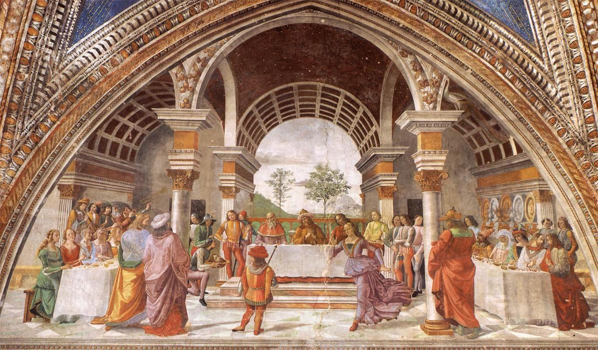 Herod's Banquet, Frescoes by Domenico Ghirlandaio (1449-1494, Italy)