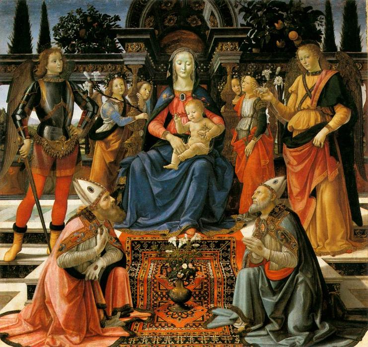 Madonna and Child Enthroned with Saints, 1483 by Domenico Ghirlandaio (1449-1494, Italy) | Famous Paintings Reproductions | WahooArt.com