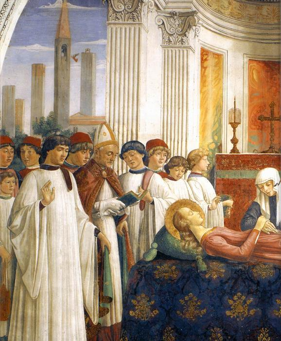 Obsequies of St Fina (detail), Frescoes by Domenico Ghirlandaio (1449-1494, Italy)