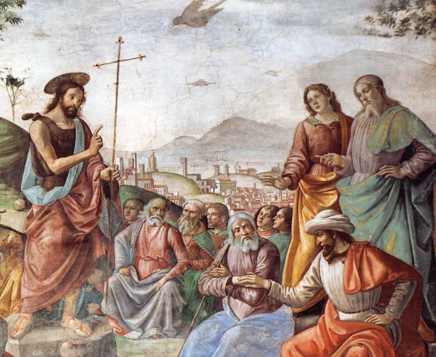 Preaching of St John the Baptist (detail), Frescoes by Domenico Ghirlandaio (1449-1494, Italy)