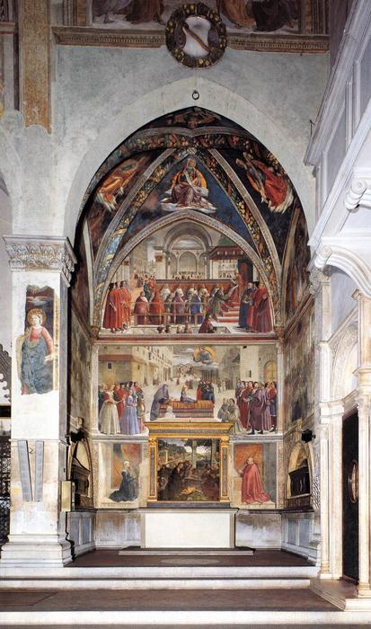 View of the Sassetti Chapel, Frescoes by Domenico Ghirlandaio (1449-1494, Italy)