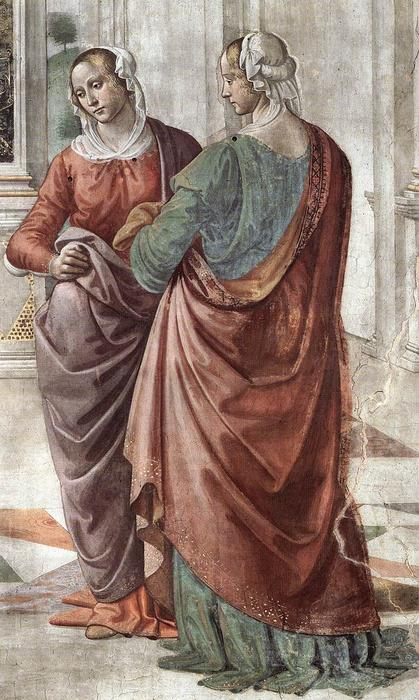 Zacharias Writes Down the Name of his Son (detail), Frescoes by Domenico Ghirlandaio (1449-1494, Italy)