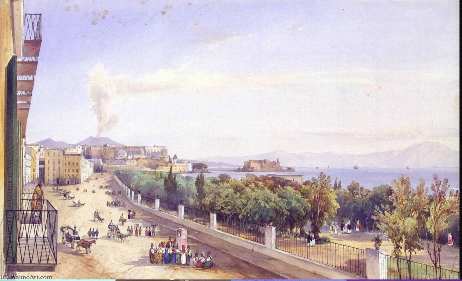 Riviera di Chiaia in Naples, 1837 by Giacinto Gigante (1806-1876, Italy) | Art Reproduction | WahooArt.com