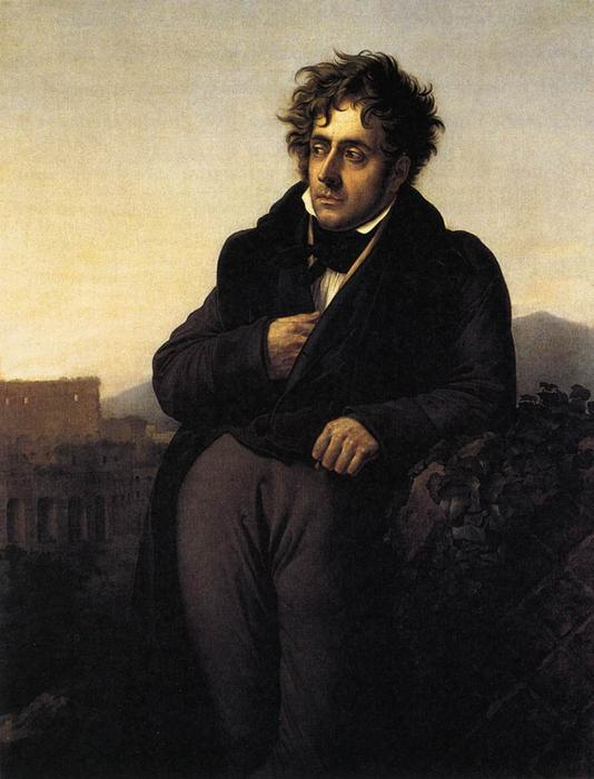 François-René de Chateaubriand, Oil On Canvas by Anne Louis Girodet De Roucy Trioson (1767-1824, France)