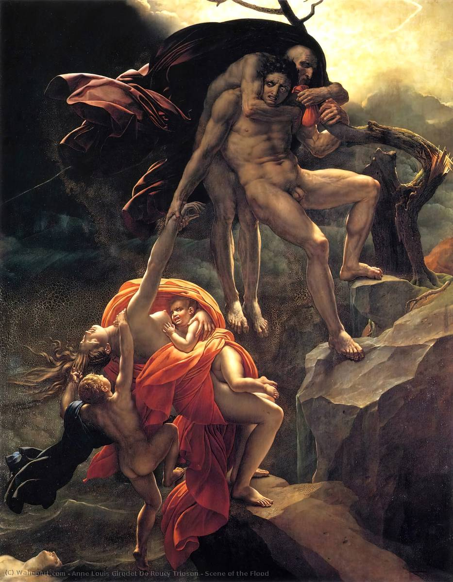 Scene of the Flood, Oil On Canvas by Anne Louis Girodet De Roucy Trioson (1767-1824, France)
