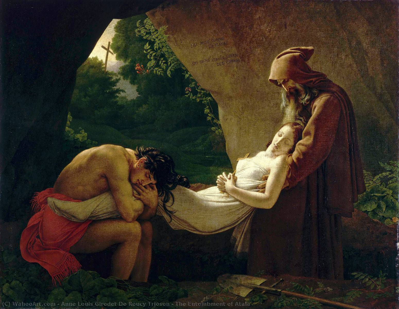 The Entombment of Atala, Oil On Canvas by Anne Louis Girodet De Roucy Trioson (1767-1824, France)