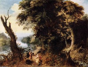 Abraham Govaerts - Landscape with Diana Receiving the Head of a Boar