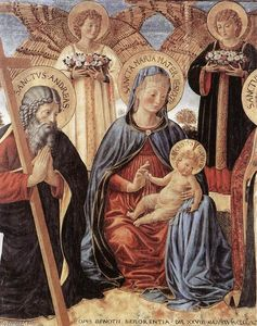 Benozzo Gozzoli - Madonna and Child between Sts Andrew and Prosper (detail)