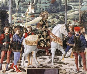 Benozzo Gozzoli - Procession of the Middle King (detail)
