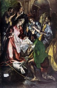 El Greco (Doménikos Theotokopoulos) - Adoration of the Shepherds (detail)
