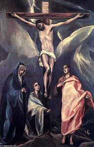 El Greco (Doménikos Theotokopoulos) - Christ on the Cross with the Two Maries and St John