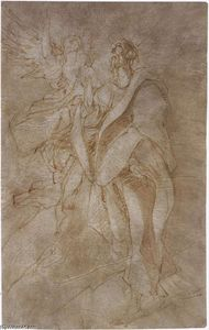 El Greco (Doménikos Theotokopoulos) - Study for St John the Evangelist and an Angel