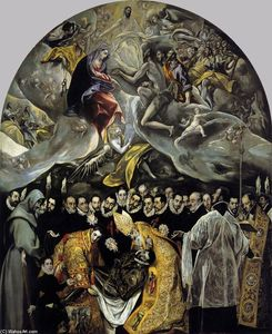 El Greco (Doménikos Theotokopoulos) - The Burial of the Count of Orgaz - (oil painting reproductions)
