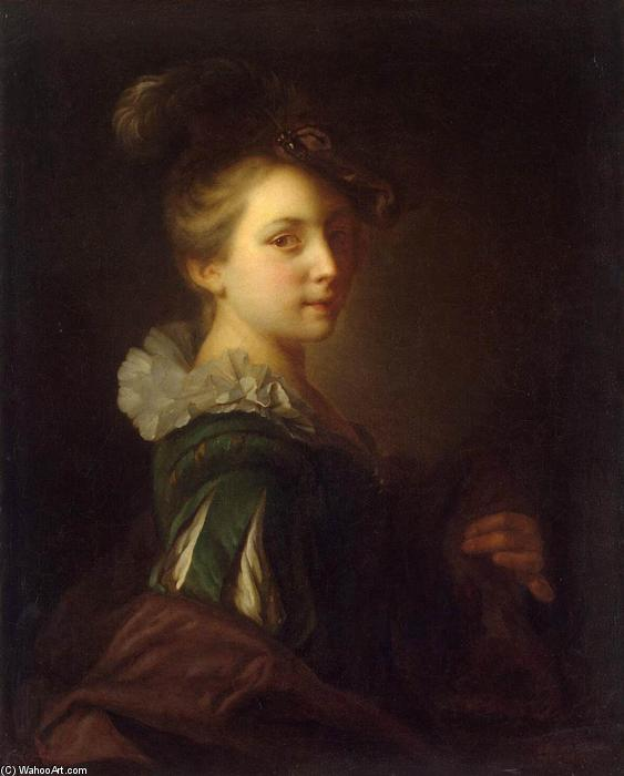 Young Woman in Theatrical Costume, 1730 by Alexis Grimou (1678-1733, France) | Reproductions Alexis Grimou | WahooArt.com