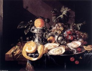 Cornelis De Heem - Still-Life with Oysters, Lemons and Grapes