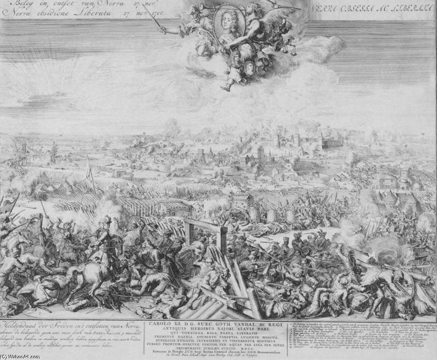 Battle of Narva on 19 November 1700, 1700 by Romeyn De Hooghe (1645-1708, Netherlands) | Paintings Reproductions Romeyn De Hooghe | WahooArt.com