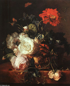 Jan Van Huysum - Basket of Flowers