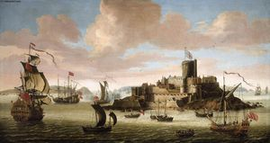 Jacob Knyff - An English Ship and other Shipping off Castle Cornet, Guernsey