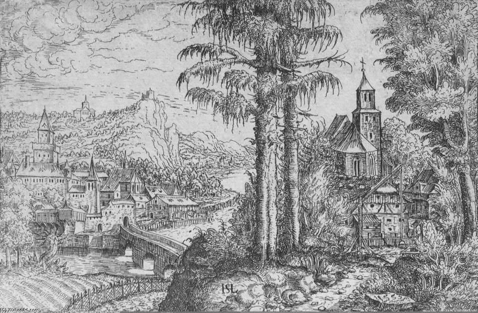 Order Paintings Reproductions | View of a Town along the River with a Church on the Right Bank, 1533 by Hans Sebald Lautensack (1520-1565, Germany) | WahooArt.com