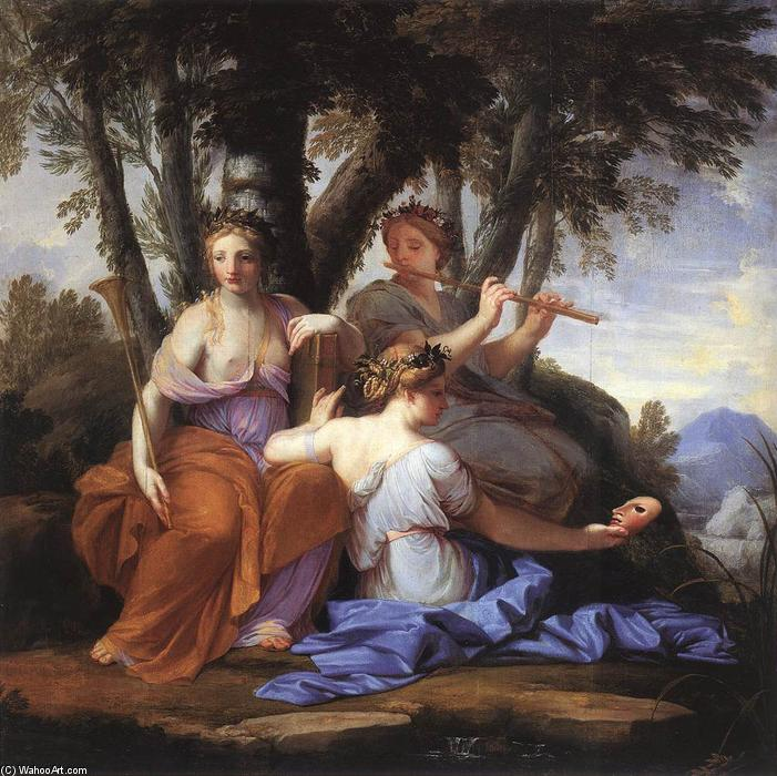 The Muses: Clio, Euterpe and Thalia, Oil by Brother Lesueur (Eustache Le Sueur) (1616-1655, France)
