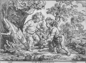 Order Art Reproductions | Jesus and St John the Baptist in their Childhood by Christoffel Jegher (1596-1652, Belgium) | WahooArt.com