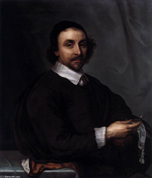 Buy Museum Art Reproductions | Portrait of a Man with a Watch, 1657 by Cornelius The Younger Jonson Van Ceulen (1634-1715, United Kingdom) | WahooArt.com