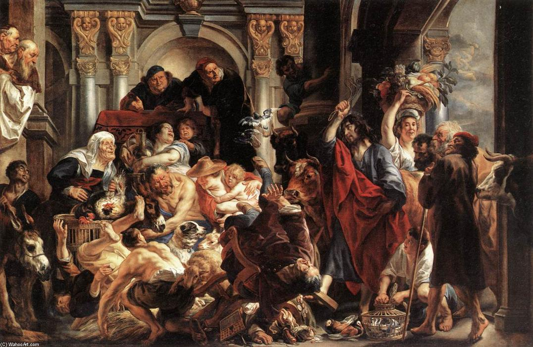 Christ Driving the Merchants from the Temple, 1650 by Jacob Jordaens (1593-1678, Belgium) | Art Reproduction | WahooArt.com