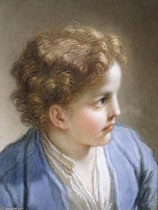 Head of a Young Boy, 1717 by Benedetto Luti (1666-1724, Italy) | Painting Copy | WahooArt.com