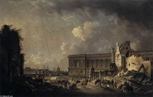 Pierre Antoine De Machy - Clearing the Area in front of the Louvre Colonnade