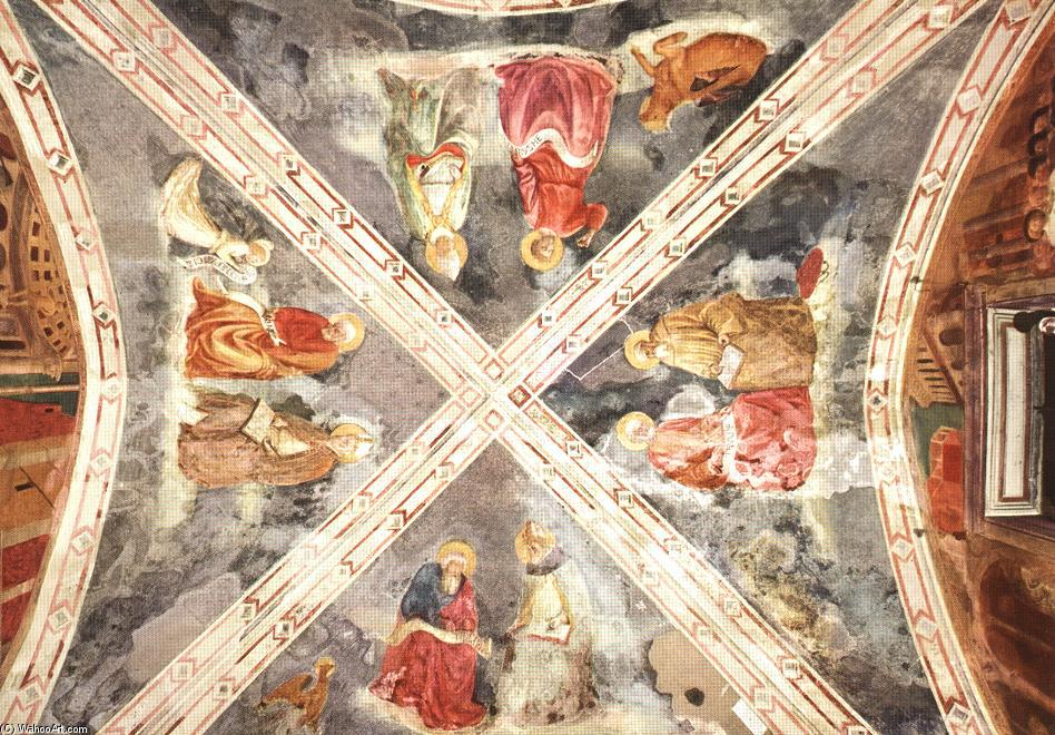 The Evangelists and The Doctors of Church, Frescoes by Masolino Da Panicale (1383-1447, Italy)