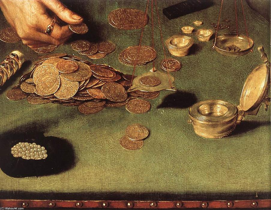 The Moneylender and his Wife (detail), Oil On Panel by Quentin Massys (1466-1530, Belgium)