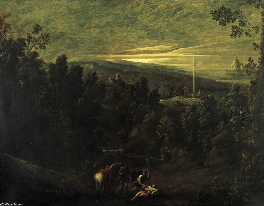 Landscape with the Good Samaritan, Oil On Canvas by Mastelletta (1575-1655, Italy)