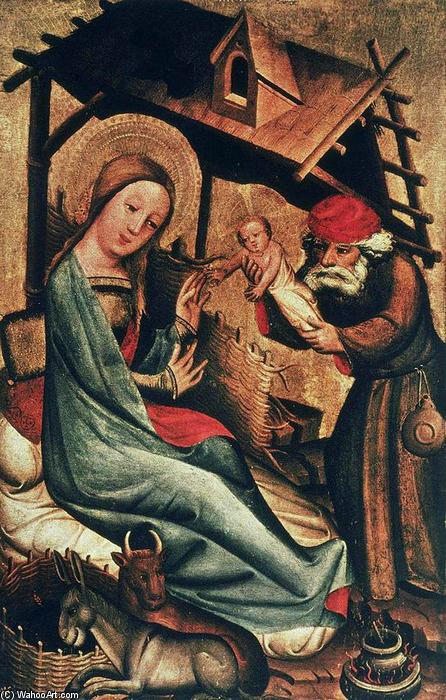 Nativity, panel from Grabow Altarpiece, Wood by Master Bertram (1345-1415, Germany)