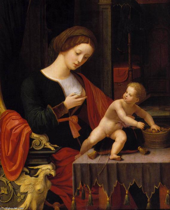 Virgin and Child, Oil On Panel by Master Of Female Half Lengths