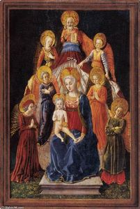 Master Of Pratovecchio - Madonna and Child with Six Angels