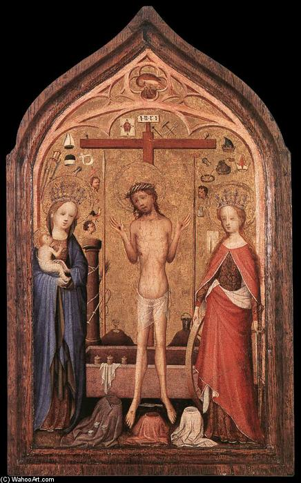 The Man of Sorrow with the Virgin and St Catherine, Panel by Master Of Saint Veronica