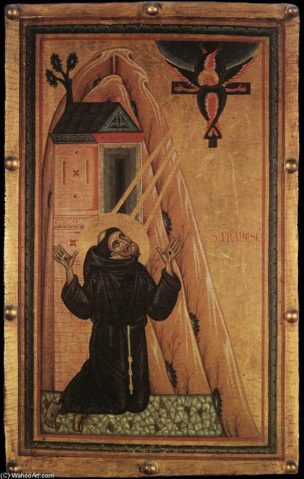 Buy Museum Art Reproductions | St Francis Receiving the Stigmata, 1240 by Master Of San Francesco Bardi | WahooArt.com