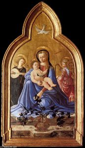 Master Of The Castello Nativity - Madonna and Child with Two Angels (Madonna of Humility)