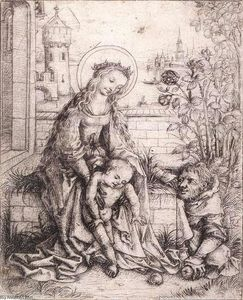 Master Of The Housebook - The Holy Family with the Rose-bush