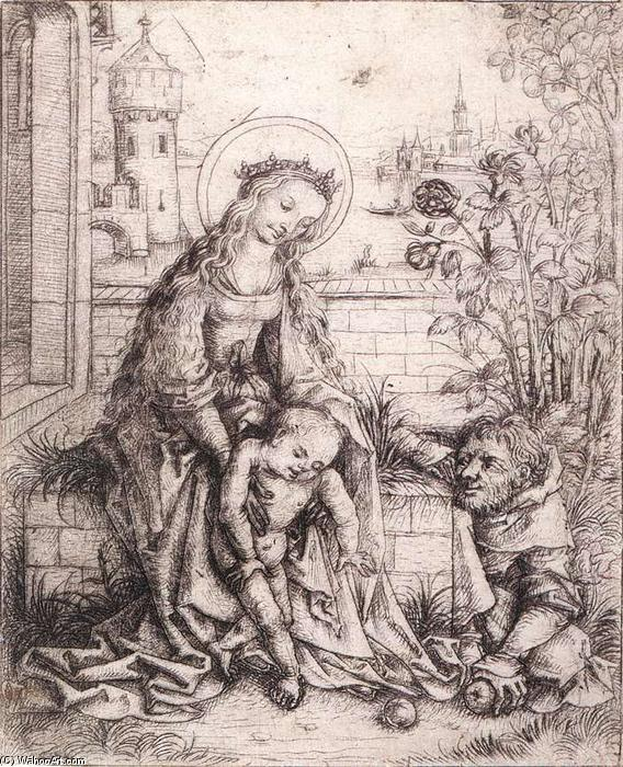 The Holy Family with the Rose-bush, 1490 by Master Of The Housebook | Museum Quality Reproductions | WahooArt.com