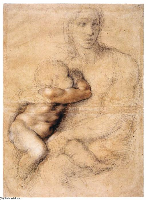 Madonna and Child, 1522 by Michelangelo Buonarroti (1475-1564, Italy) | Oil Painting | WahooArt.com